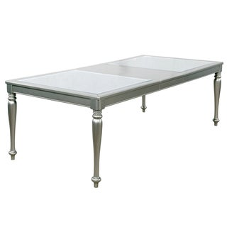 Furniture of America Glendel Glam Embossed Glass Top Silver Grey Dining Table with 18-inch Leaf