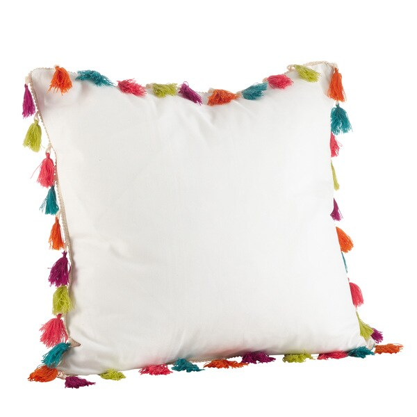 Shop Colorful Tassel Trim Cotton Down Filled Throw Pillow