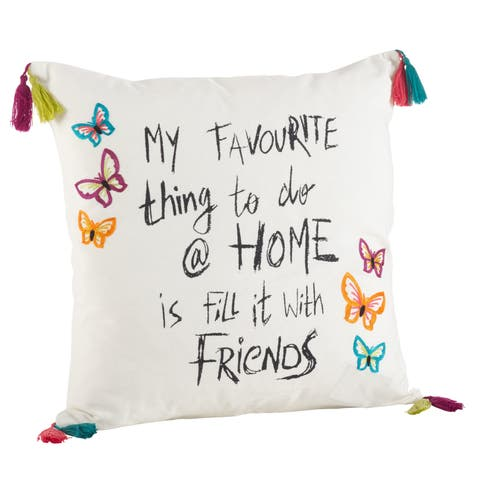 Colorful Embroidered Tassel Trim Friends Down Filled Pillow