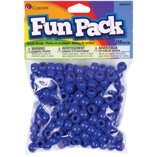 Fun Pack Acrylic Pony Beads 250/Pkg-Blue
