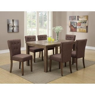 Zardab Contemporary Upholstered and Wood Finished 7-Piece Dining Set