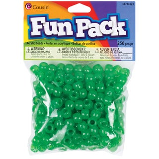 Fun Pack Acrylic Pony Beads 250/Pkg-Green