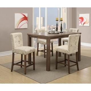 Qabala Contemporary Upholstered and Oak 5-Piece Counter Height Dining Set