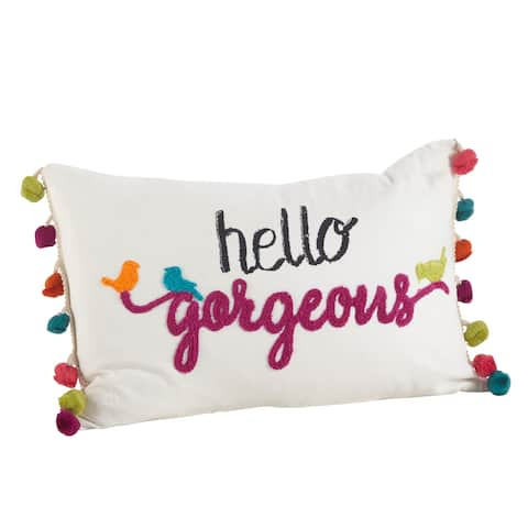 Colorful Tassel Trim Hello Gorgeous Down Filled Throw Pillow
