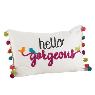 Colorful Tassel Trim Hello Gorgeous Down Filled Throw Pillow