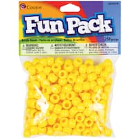 Fun Pack Acrylic Pony Beads 250/Pkg-Yellow