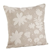 Natural Cotton Floral Embroidery Down Filled Throw Pillow