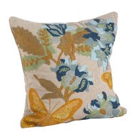 Butterfly Emroidered Cotton Down Filled Throw Pillow