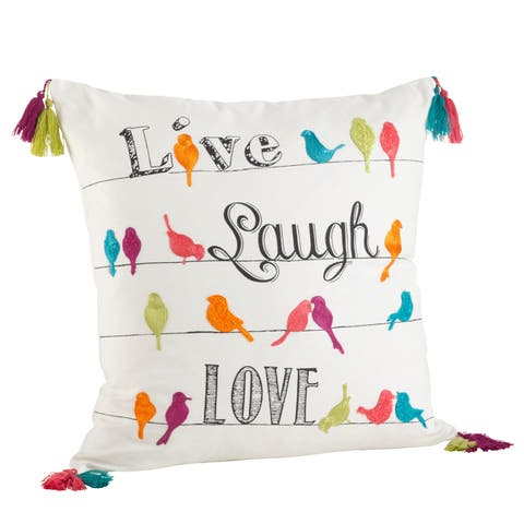 Colorful Embroidered Tassel Trim Live Laugh Love Down Filled Pillow
