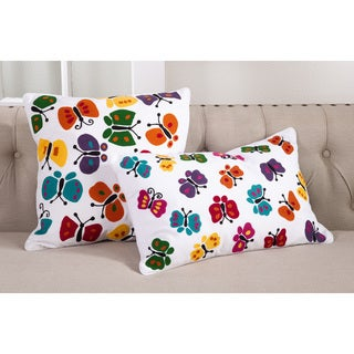 Embroidered Butterfly Cotton Down Filled Throw Pillow
