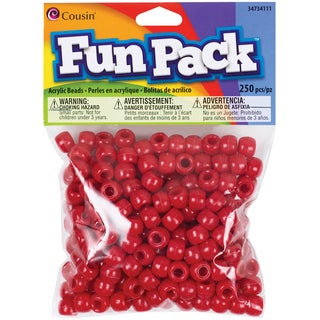 Fun Pack Acrylic Pony Beads 250/Pkg-Red