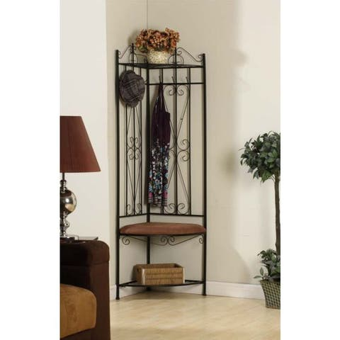Black and Brown Microfiber Corner Hallway Bench