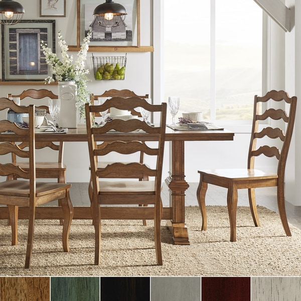 Eleanor Oak Farmhouse Trestle Base 5 Piece Dining Set French Ladder Back By Inspire