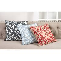Bird Branch Embroidered Cotton Down Filled Throw Pillow