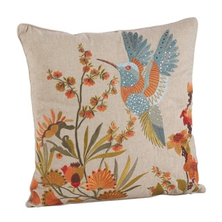 Hummingbird Embroidered Cotton Down Filled Throw Pillow