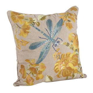 Dragonfly Emroidered Cotton Down Filled Throw Pillow