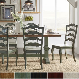 Eleanor Sage Green Farmhouse Trestle Base French Ladder 5-piece Dining Set by iNSPIRE Q Classic