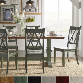 Eleanor Sage Green Farmhouse Trestle Base X Back 5-piece Dining Set by iNSPIRE Q Classic