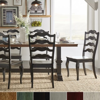 Eleanor Black Farmhouse Trestle Base French Ladder Back 5-piece Dining Set by iNSPIRE Q Classic