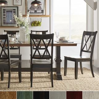 Eleanor Black Farmhouse Trestle Base X Back 5-piece Dining Set by iNSPIRE Q Classic