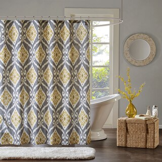 Madison Park Mika Yellow Printed Shower Curtain
