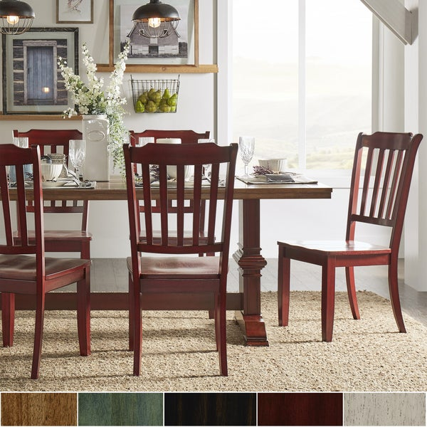 Eleanor Berry Red Farmhouse Trestle Base Slat Back 5-piece Dining Set ...