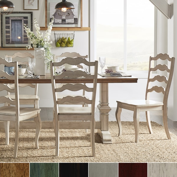 Eleanor Antique White Farmhouse Trestle Base French Ladder 5-piece Dining Set by iNSPIRE Q Classic