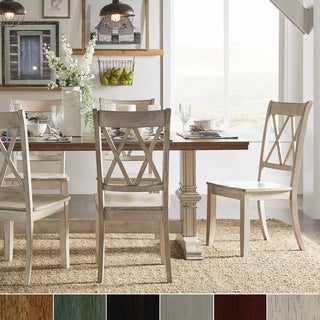 Eleanor Antique White Farmhouse Trestle Base 5 Piece Dining Set   X Back By  INSPIRE