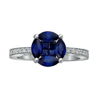 14k White Gold Blue Sapphires and 1/6ct Diamond Engagement Ring