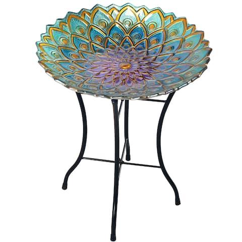 "Peaktop - Outdoor Glass Mosaic Flower Fusion Bird Bath, Blue/Purple, 21.2""H"
