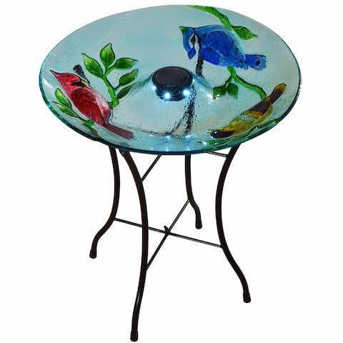 Teamson Peaktop Outdoor Cardinals Fusion Glass 18-inch Solar Bird Bath with Stand