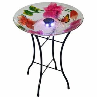 Teamson Peaktop Multicolor Glass 18-Inch Flower Fusion Solar Bird Bath