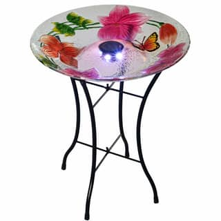 Teamson Peaktop Multicolor Glass 18-Inch Flower Fusion Solar Bird Bath