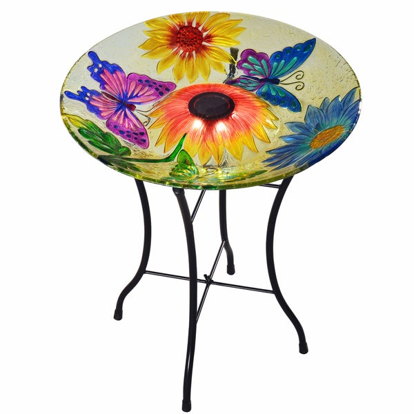 Shop Peaktop Butterfly Fusion Glass 18 Inch Solar Outdoor