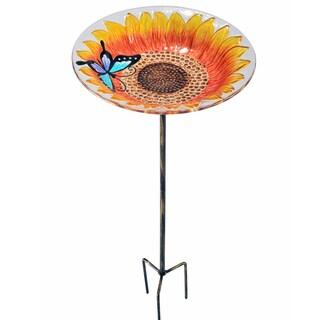 Teamson Peaktop Outdoor Sunflower Fusion Glass 11-Inch Bird Feeder