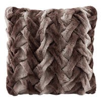 Hampton Hill Ruched Faux Tip Dyed Fur 20-inch Square Pillow 3-Color Options