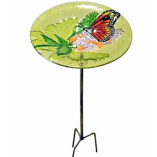 Teamson Peaktop Multicolor Glass and Iron Outdoor 11-inch Butterfly Fusion Glass Bird Feeder