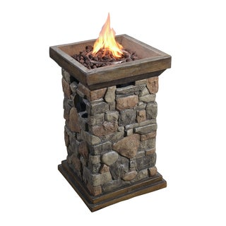 Peaktop Slate Rock Outdoor Natural Square Column Propane Gas Fire Pit