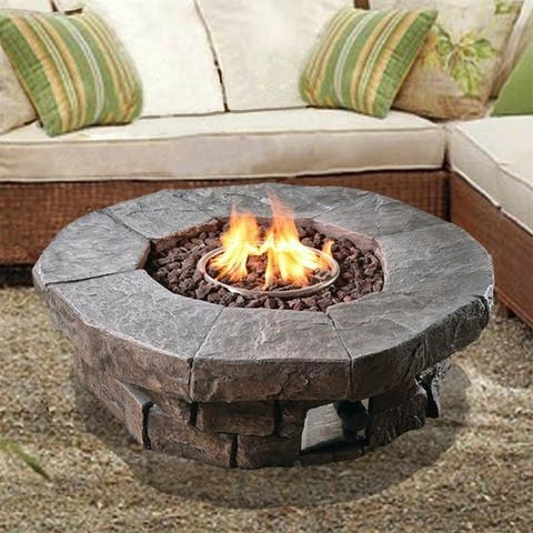 Peaktop - Outdoor Round Stone Look Propane Gas Fire Pit