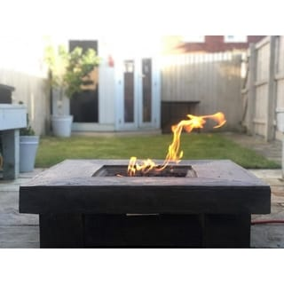 Peaktop - Outdoor Retro Square Propane Gas Fire Pit, Wood finished