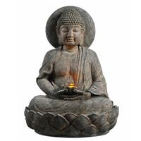 Teamson Peaktop Grey Polyresin Outdoor Buddha Zen Fountain w/ LED Light
