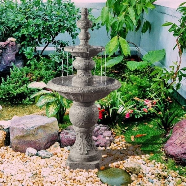 Peaktop - Outdoor Icy Stone 2-Tier Waterfall Fountain. Opens flyout.