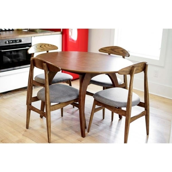 Haven Home Bradley Mid Century Walnut Oval Dining Table   Brown