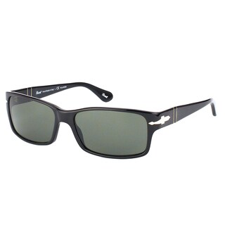 Persol PO 2803S 95/58 Black Plastic Rectangle Sunglasses Green Polarized Lens