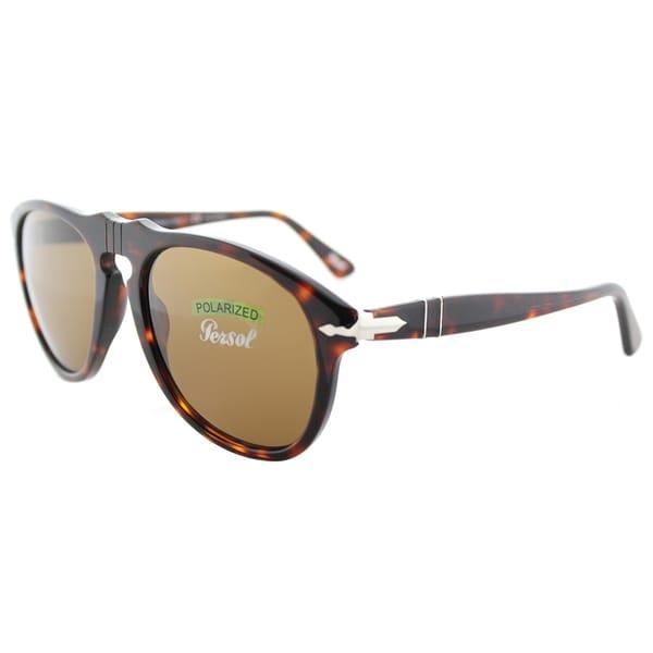 Persol PO 649 24/57 The Origins Havana Plastic Aviator Sunglasses Brown Polarized Lens