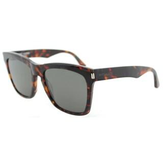 Saint Laurent SL 137 Devon 002 Havana Plastic Square Sunglasses Grey Lens