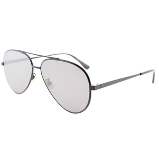 Saint Laurent SL Classic11 Zero 003 Matte Black Metal Aviator Sunglasses Silver Flatt Mirror Lens