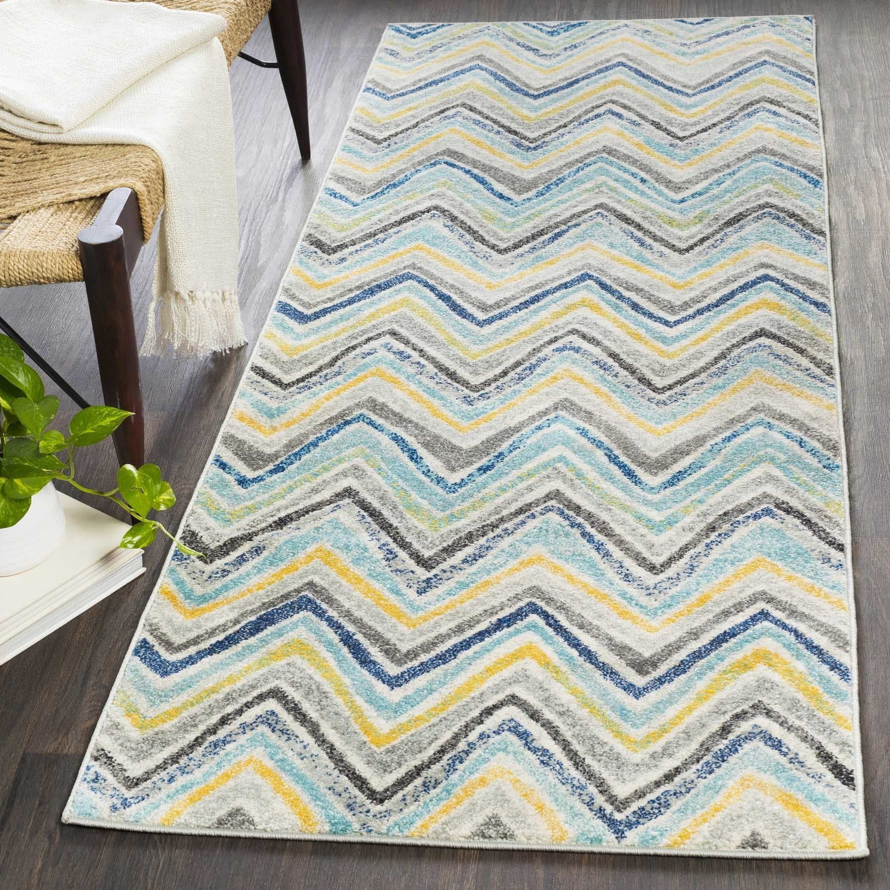 SURYA Aiden Blue & Grey Casual Chevron Rug (2'7 x 7'3) (G...