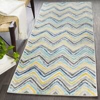"Aiden Blue & Grey Casual Chevron Area Rug - 2'7"" x 7'3"""