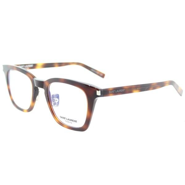 b0f108c249a Shop Saint Laurent SL 139 Slim 002 Havana Plastic Square Eyeglasses ...